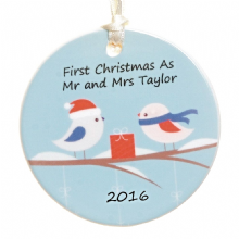 Ceramic Christmas Tree Decoration Birds in Snow Design - Personalised Christmas Ornament